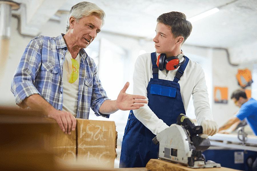 carpenter giving intern advice